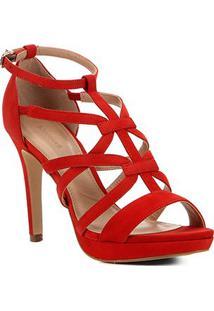 Sandália Shoestock Nobuck Tiras Salto Fino Feminina - Feminino-Vermelho