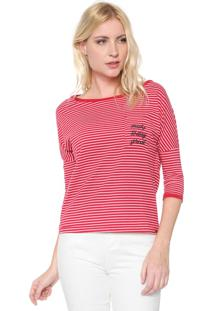 Camiseta Dzarm Bordada Vermelho/Branco