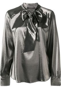 Max Mara Blusa Com Amarração - Dourado