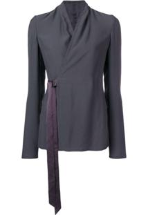 Rick Owens Wrapped-Front Blouse - Cinza