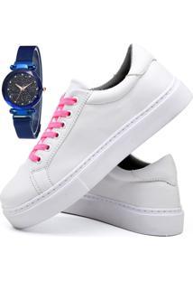 Tênis Sapatênis Casual Fashion Com Relógio Sky Feminino Dubuy 311El Branco - Kanui