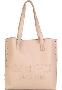 Bolsa Colcci Shopper Logo Tachas Feminina - Feminino-Nude