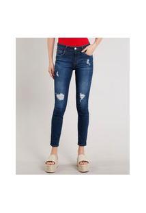 Calça Jeans Feminina Skinny Com Rasgos Azul Escuro