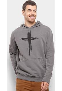 Blusa Moletom Bossa Brasil The Cross Canguru Masculina - Masculino-Chumbo