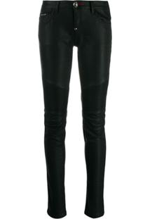 Philipp Plein Statement Biker Trousers - Preto
