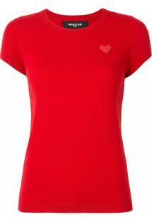 Paule Ka Blusa De Tricô Com Patch De Coração - Vermelho