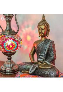 Escultura De Buda Tailandês Gold 30Cm