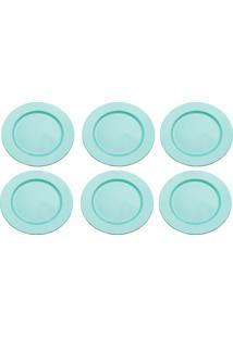 Kit 6 Sousplats De Plástico Opala Azul Tiffany 33Cm Lyor