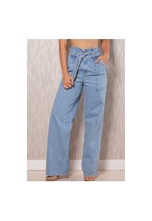 Calça Pantalona Cos Limpeza Com Cinto E Amarraçao Alcance Jeans