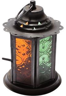 Porta Vela Lanterna Laranja E Verde 12X8,5Cm