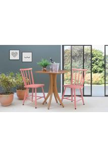 Mesa Quadrada Com 2 Cadeiras Juliette - Jatobá E Rosa Coral