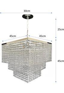 Lustre Pendente De Cristal Acrílico Alto Brilho 45X80 Lina Design Ac25