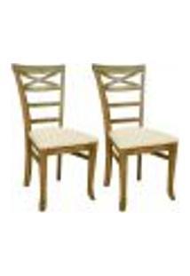 Kit 02 Cadeiras Para Sala De Jantar Cozinha Sky Oregon Linho Rústico Bege Claro - Gran Belo