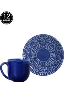 Jogo De Xícaras De Café 12 Pçs Greek Azul Navy Porto Brasil