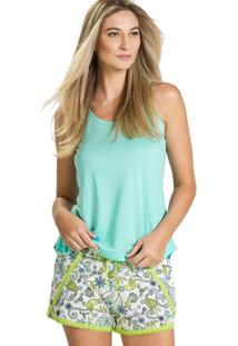 Pijama Inspirate Curto Arabesco Feminino - Feminino-Verde Claro+Marinho