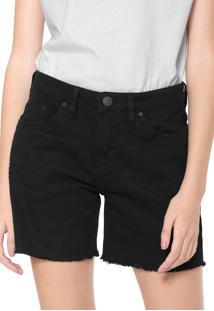Bermuda Sarja Calvin Klein Jeans Reta Desgates Preta