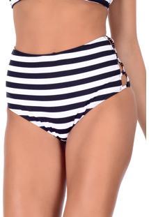 Calcinha Summer Soul Hot Pants Listrado Branca/Preta