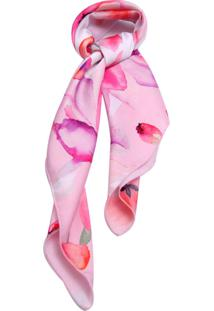 Lenço Smm Acessorios Floral Rosa