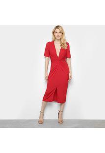 Vestido Lança Perfume Midi Com Fenda Frontal - Feminino-Vermelho