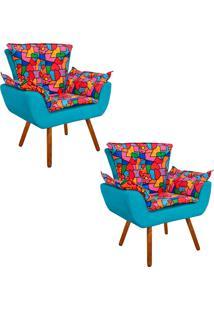 Kit 02 Poltrona Decorativa Opala Suede Composê Estampado D15 E Suede Azul D'Rossi. - Tricae