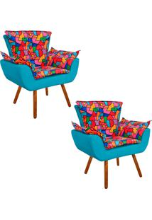 Kit 02 Poltrona Decorativa Opala Suede Composê Estampado Romero Britto D15 E Suede Azul Tiffany - D'Rossi