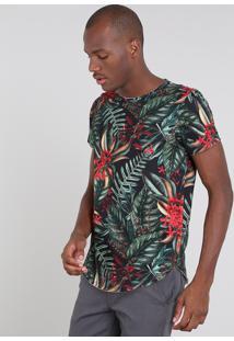 Camiseta Masculina Slim Fit Estampada De Folhagem Manga Curta Gola Careca Preta