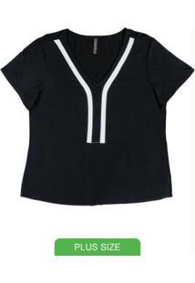 Blusa Plus Size Com Decote V Preto