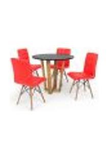 Conjunto Mesa De Jantar Lara 90Cm Preta Com 4 Cadeiras Eiffel Gomos - Vermelha