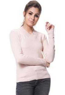 Blusa Tricot Feminina Logan Básica Linha Lycra - Feminino-Nude