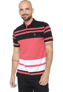 Camisa Polo Aleatory Reta Listras Preta/Coral
