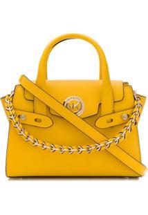 Michael Michael Kors Bolsa Transversal Com Placa De Logo - Amarelo