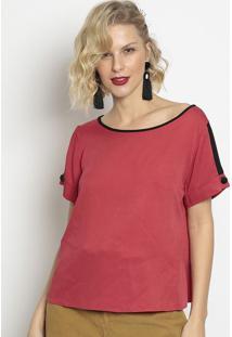 Blusa Com Recortes- Vermelha & Pretamiliore