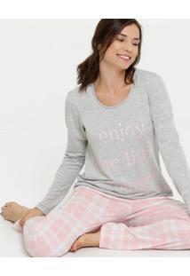 Pijama Feminino Xadrez Estampa Frontal Manga Longa Marisa