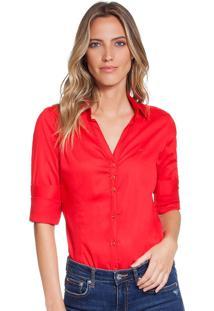 0b96bac0b9944 ... Camisa Social Feminina Vermelha Com Elastano Principessa Klara