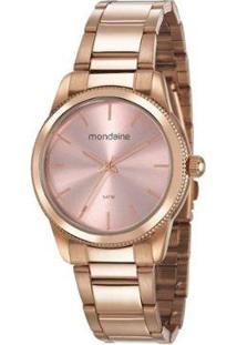 Relógio Feminino Analógico Com Colar Mondaine - Feminino-Rosa Claro