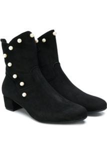 Monnalisa Ankle Boot De Couro - Preto