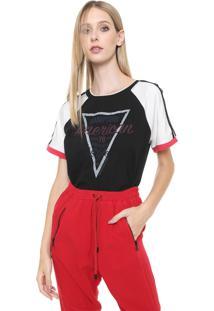 Camiseta Calvin Klein Jeans America Preta/Off-White