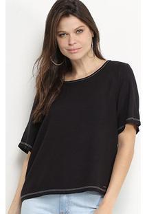 Blusa Colcci Lisa Costuras Ampla Feminina - Feminino-Preto