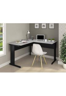 Mesa Para Escritório Retangular Em L Pé Metálico 160Cm Gebb Work Preto/Cinza