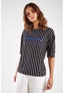 Camiseta Malha Listras Silk Sacada Feminina - Feminino-Azul