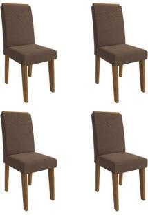 Conjunto Com 4 Cadeiras De Jantar Taís I Suede Savana E Chocolate