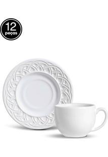 Conjunto 12Pçs Xícaras De Chá Porto Brasil Cestino Branco