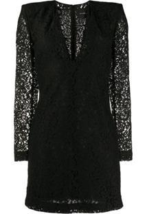 John Richmond Structured-Shoulder Lace Mini Dress - Preto