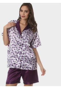 Pijama Bermudoll Rmb Lingerie Cetim Púrpura