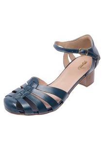 Sandalia Miuzzi Couro Feminina Salto Baixo Conforto Casual Azul 36 Azul