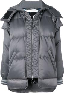 Off-White Hooded Puffer Jacket - Cinza