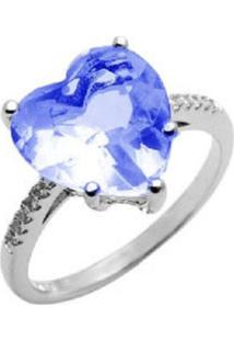 Anel Coração Cristal Safira Solitário