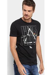 Camiseta Acostamento Estampa Pink Floyd Masculina - Masculino-Preto
