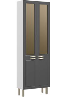 Paneleiro 4 Portas Com Vidro Reflecta Nevada 5627Vd-Multimóveis - Branco Premium / Grafite Premium