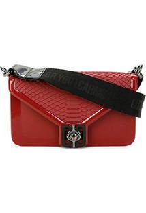 Bolsa Carmim Mini Bag Transversal Adelina - Feminino-Preto+Vermelho